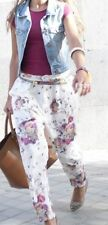 ZARA LOOKBOOK CREAM FLORAL BAGGY TROUSERS SIZE XS