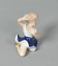 """Vintage Wallendorf Ballerina Figurine White & Blue Outfit & Gold Shoes 3"""" Height"""