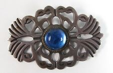 Vintage Sterling Silver Blue Glass Modernist Brooch Pin Iguala Mexico EML Signed