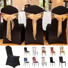 100pcs Black Chair Covers Spandex Lycra Wedding Banquet Anniversary Party Decor