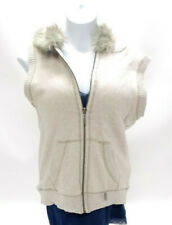 AEROPOSTALE WOMENS IVORY FAUX FUR LINED HOODED VEST ~ MEDIUM in EUC