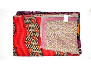 Indian Handmade Quilt Vintage Kantha Bedspread Throw Cotton Blanket Gudri Twin