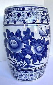 Beautiful Vintage Style Blue and White Porcelain Garden Stool Bird Motif