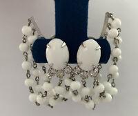 Vintage Milk Glass Cabochon Rhinestone Dangling Chains Clip Earrings Silver Tone