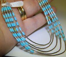 Native American 925 Argento Sterling Turchese Dichiarazione Collana