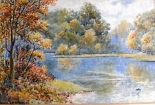 Leeson Rowbotham watercolour autumnal river landscape signed