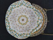 Aumônière -  bourse à décors floral en perles XIX ème