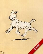 HAPPY TROT PET PUPPY DOG ANIMAL ART CECIL ALDIN PAINTING PRINT ON REAL CANVAS