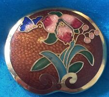 Enameled Scarf Clip Holder Lovely Vintage Detailed Butterfly & Flowers