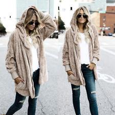 Womens Hood Faux Fur Coat Jacket Long Sleeve Hoodies Parka Outwear Cardigan Coat