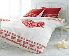 2tlg.baumwoll-renforcé Cœur Linge de lit strickherz blanc/rouge 135 x 200 cm
