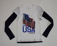 Girl's Size 12 T Shirt Top Long Sleeve White USA Team Apparel