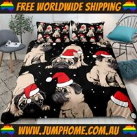 Christmas Pug Bedspread Set - Duvet Cover, Quilt, Dogs *FREE WORLDWIDE SHIPPING*