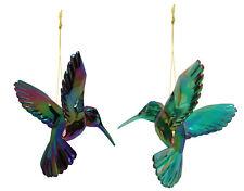 2 Assort Gisela Graham Hanging Humminmg Bird Decoration Stunning Peacock Colours