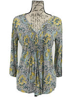 Talbots Top NWOT Women's Paisley 3/4 Sleeve Blouse V-Neck Size Small
