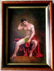 peinture huile encadrée nu masculin homme toile panneau  canvas gay naked  man