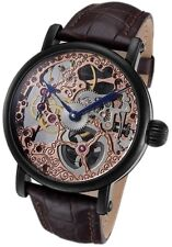 Rougois Tattoo Rose Gold Tone Mechanical Skeleton Watch