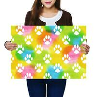 A2 | Rainbow Paw Cat Kitten Dog Puppy Size A2 Poster Print Photo Art Gift #13211