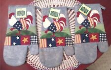 3 Country Crafts Rooster Oven Mitts Quilted Embroidered New With Tags