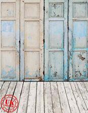 Bleu Blanc en Bois Mur Sol Toile de Fond Fond Vinyle Photo Prop 5X7FT 150x220CM