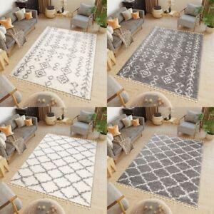 Modern Bedroom Rug Trellis Moroccan Mat Boho Soft Shaggy Rugs Geometric Design