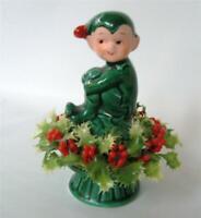 Vintage Xmas Inarco Ceramic Pixie Elf Seated On Mushroom Plastic Holly Japan