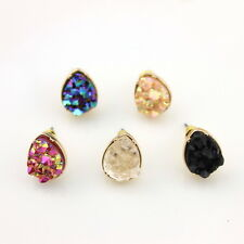 10mm Quartz Crystal Druzy Stud Earrings Teardrop Natural Rock Stone Small Studs