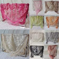 Lace Sheer Floral Print Triangle Veil Church Mantilla Scarf Shawl Wrap Tassel