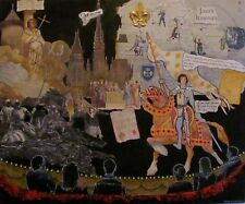 JOAN OF ARC COLLAGE ON WOOD STAGE PLAY MIXED MEDIA