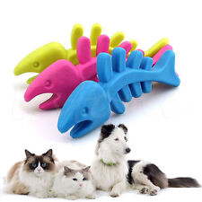 Dog Cat Pet Rubber Fish Bone Toy Puppy Dental Teeth Chew Toys Random Color Hot