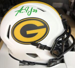 Aaron Jones Autographed Green Bay Packers Mini Helmet- Lunar Eclipse Beckett