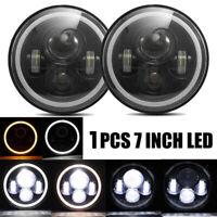 1X 7Inch Round 75W LED Headlights Hi/Lo For Motorcycle 97-18 JK TJ LJ Wrangle VU