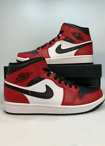 Air Jordan 1 Retro Mid Chicago Red GS & Mens Size Black Red White 554724-069