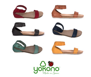 Yokono Genova-400 Ladies Flat Leather Spanish Sandals Ankle Strap textured front