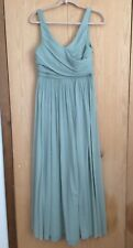 J Crew Heidi Long Dress In Green Silk Chiffon Size 12 Petite Sleeveless