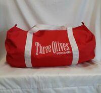 THREE OLIVES VODKA Large Duffle Bag Promotional Nylon Gym Bag Red/White