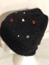 * OS Betsey Johnson Kisses & Stars Fuzzy Embellished Knit Cuffed Beanie Black