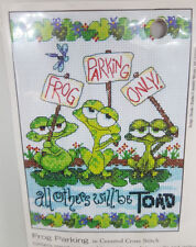 "Dimensions Frog Parking Embroidery Counted Cross Stitch Kit 70-65148 New 5"" x 7"""