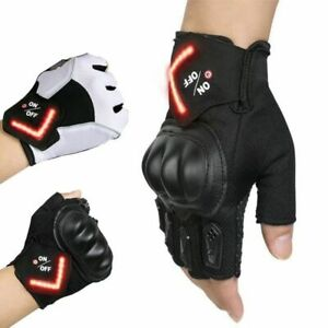 Rechargeable LED Turn Signal Cycling Gloves Half Finger Motorcycle Gloves