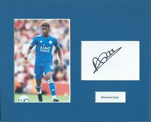 Demarai Gray Signed 10x8 Leicester City Mounted Photo and Card Display
