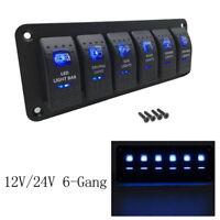 Waterproof 6 Gang LED Light Rocker Switch Panel Circuit Breaker 12V Boat Marine