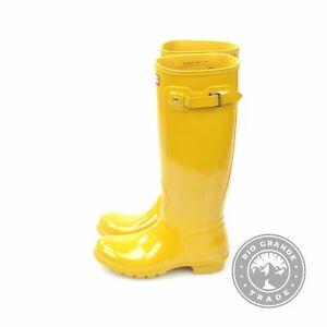 NEW HUNTER WFT1000RGL Original Tall Gloss Rain Boots in Yellow Rubber - 9
