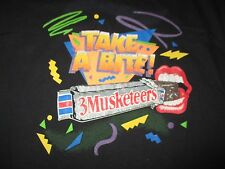 "Vintage Anvil Black Label - ""Take a Bite"" 3 MUSKETEERS Bar (2XL) T-Shirt"