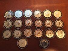 Lot of 20 ~ 1oz .999  Silver ~Australia Kookaburra ~ Difference Dates Round