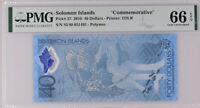 Solomon Islands 40 Dollars ND 2018 Polymer P 37 Gem UNC PMG 66 EPQ