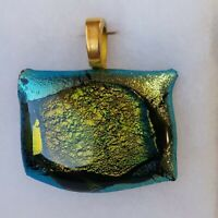 Dichroic Glass Pendant Greens Golds Rectangle Shape Gold Color Bale 1.5""
