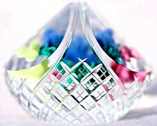 GORGEOUS Ray BANFORD Colorful FLORAL Gingham Cut BASKET Art Glass PAPERWEIGHT