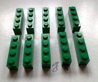 * Genuine Lego Parts: 10 Green 1x4 Bricks