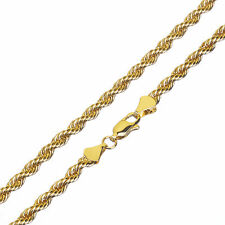 Men's Women's 14K Yellow Gold Plated Thin Short 3 mm Rope Chain Necklace 20""