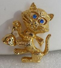 Vintage AVON Gold Tone Whimsical KITTY CAT with BELL PIN Blue Rhinestone Eyes